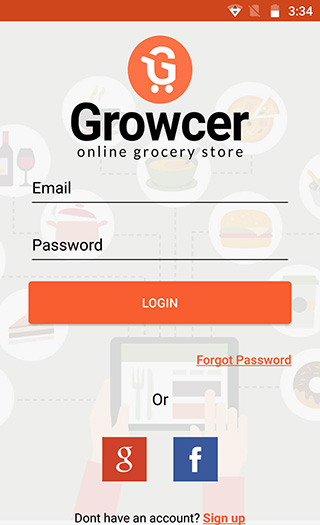 Grocery app login/signup