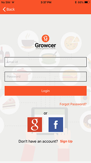 IOS grocery app login/signup