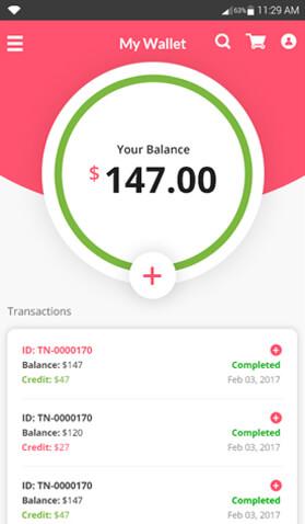 eCommerce buyer app wallet feature