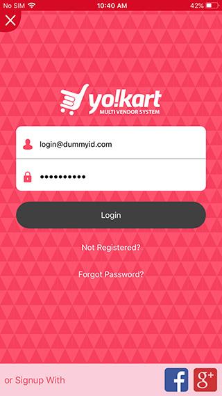 Yo!Kart IOS buyer app login