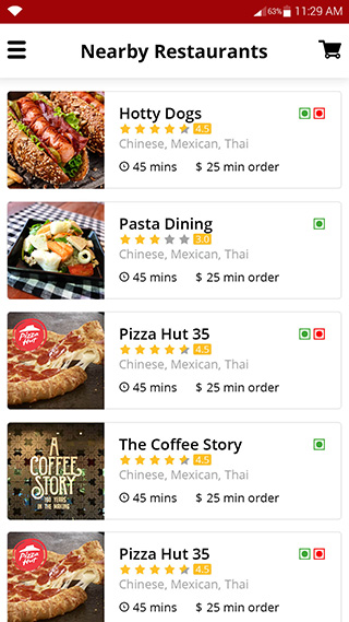 Online food ordering buyer app