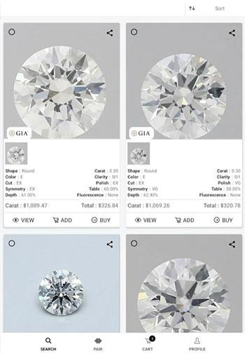 UNI diamonds app design iOS tab 1