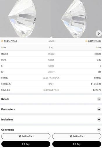 UNI diamonds app design iOS tab 2