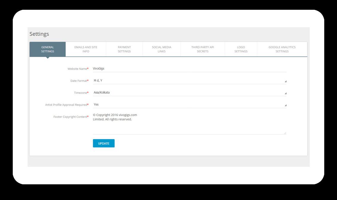 Gigs website management