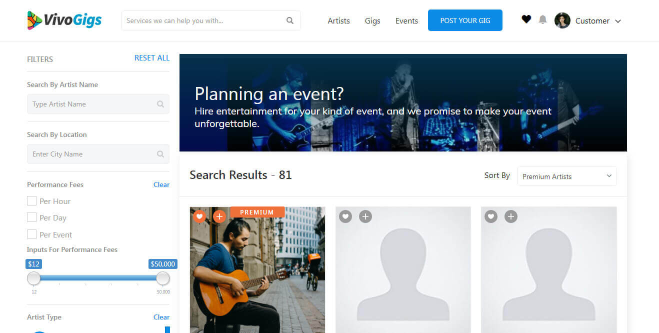 Online gigs marketplace