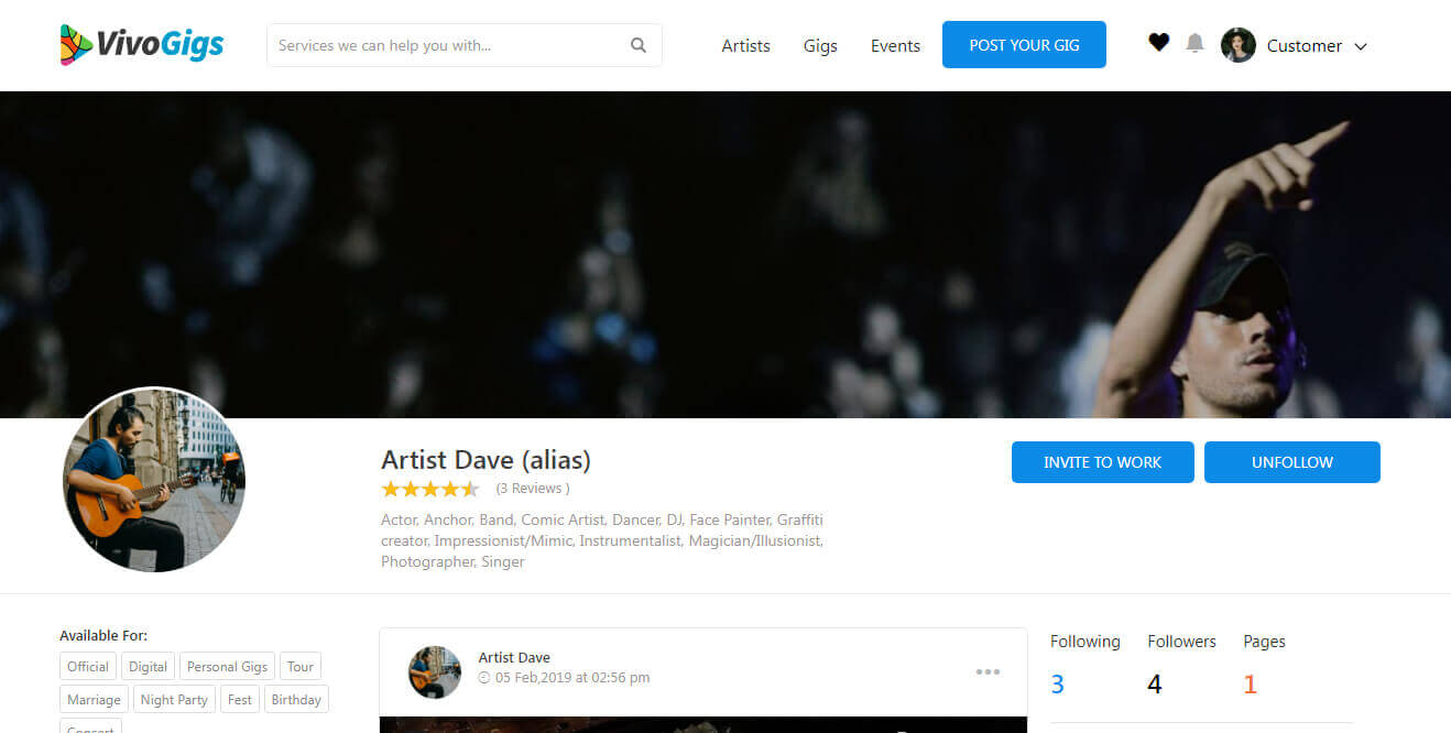 Marketplace for booking performers