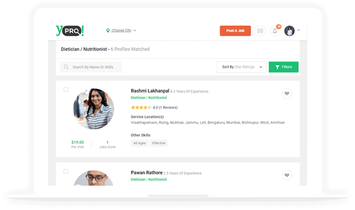 Professional search marketplace dashboard
